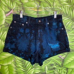 CarMar Distressed Dark Acid wash Jean Shorts